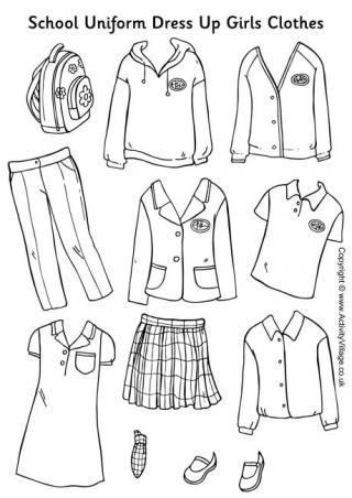 School Uniform Paper Dolls Girls Clothes.
