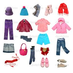 Clothing clip art for girls with Clothes for all Seasons.