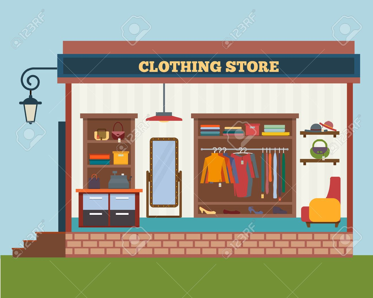 Clothing store. Man and woman clothes shop and boutique. Shopping,...