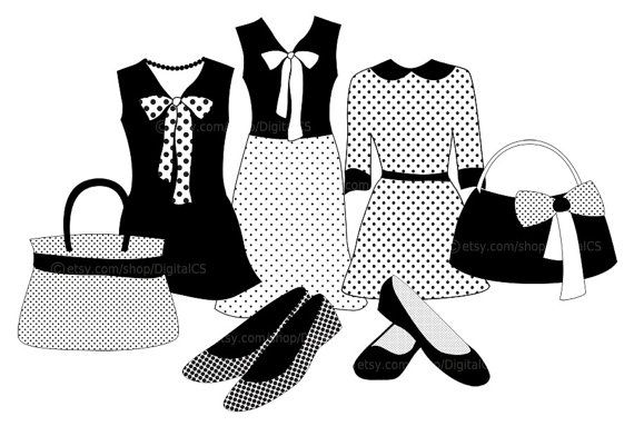 Clipart Fashion clothes Black and White girl clip art by.