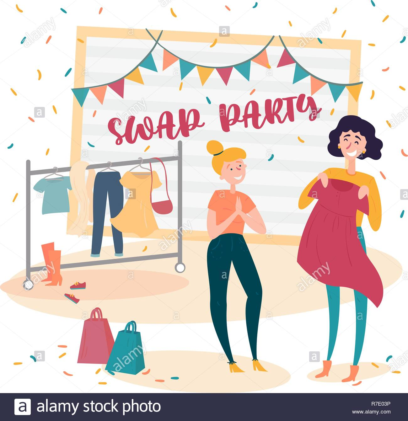 Two young girls at fashion swap party. Exchange Stock Vector Art.