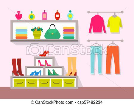 Clothing Store and Interior Vector Illustration.