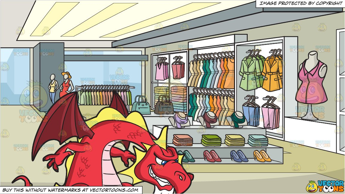 A Lucky Red Dragon and A Clothing Store For Women Background.