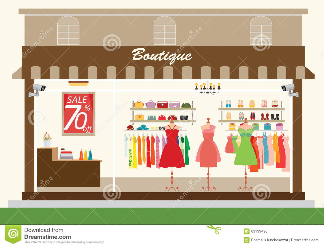 Clothing Store Building Clipart.