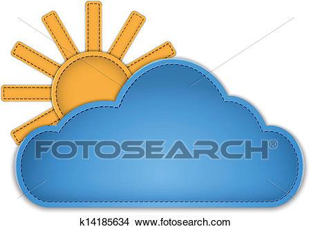 Cloud and sun Clipart.
