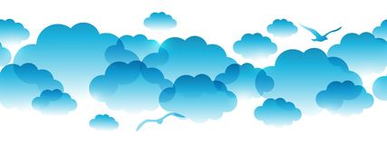 Seamless Border With Blue Clouds Stock Vector.