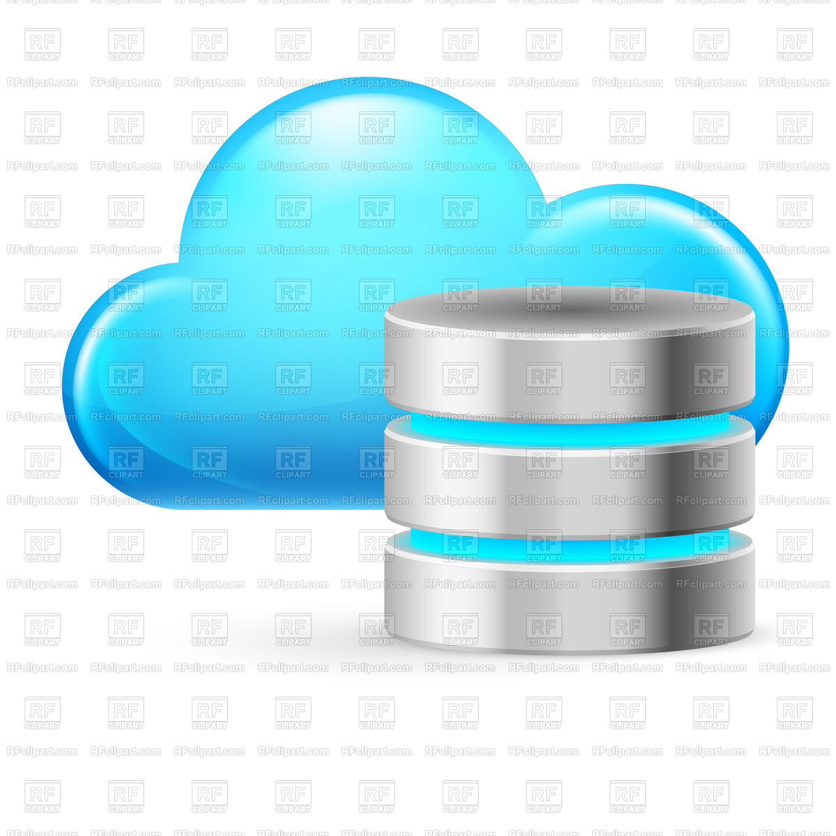 Cloud computing icon with symbolic database Stock Vector Image.