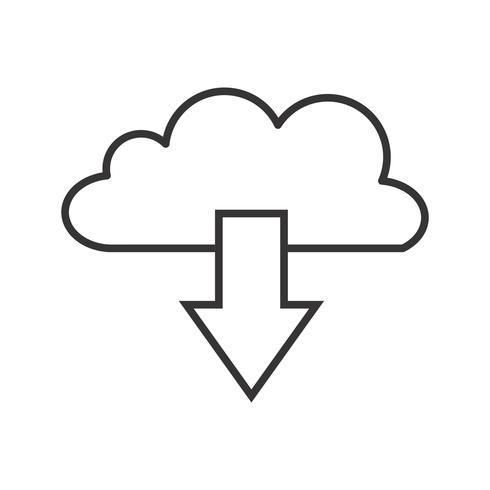 Cloud Download Line Black Icon.