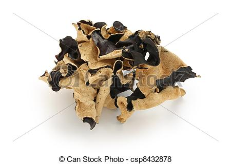Pictures of dried cloud ear fungus, dried wood ear fungus.