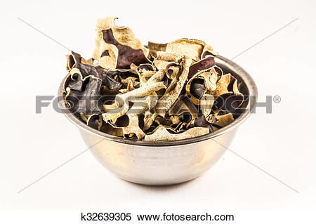 Stock Image of Dried Chinese Black Mushrooms, Auricularia.