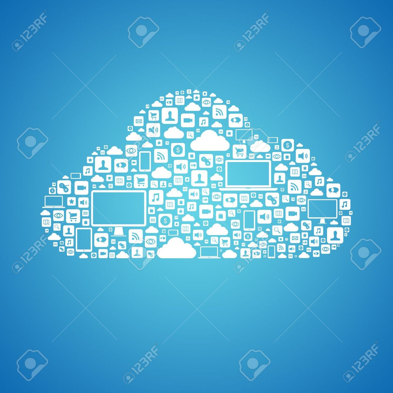 Abstract Vector Concept Of Cloud Computing With Many Graphic.