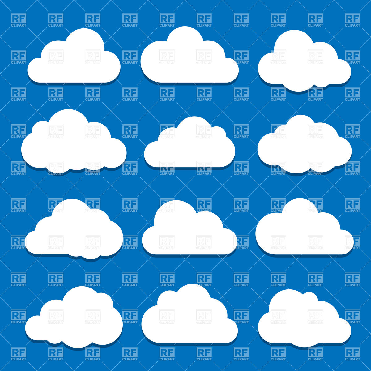 Clouds collection in different form Vector Image #5564.