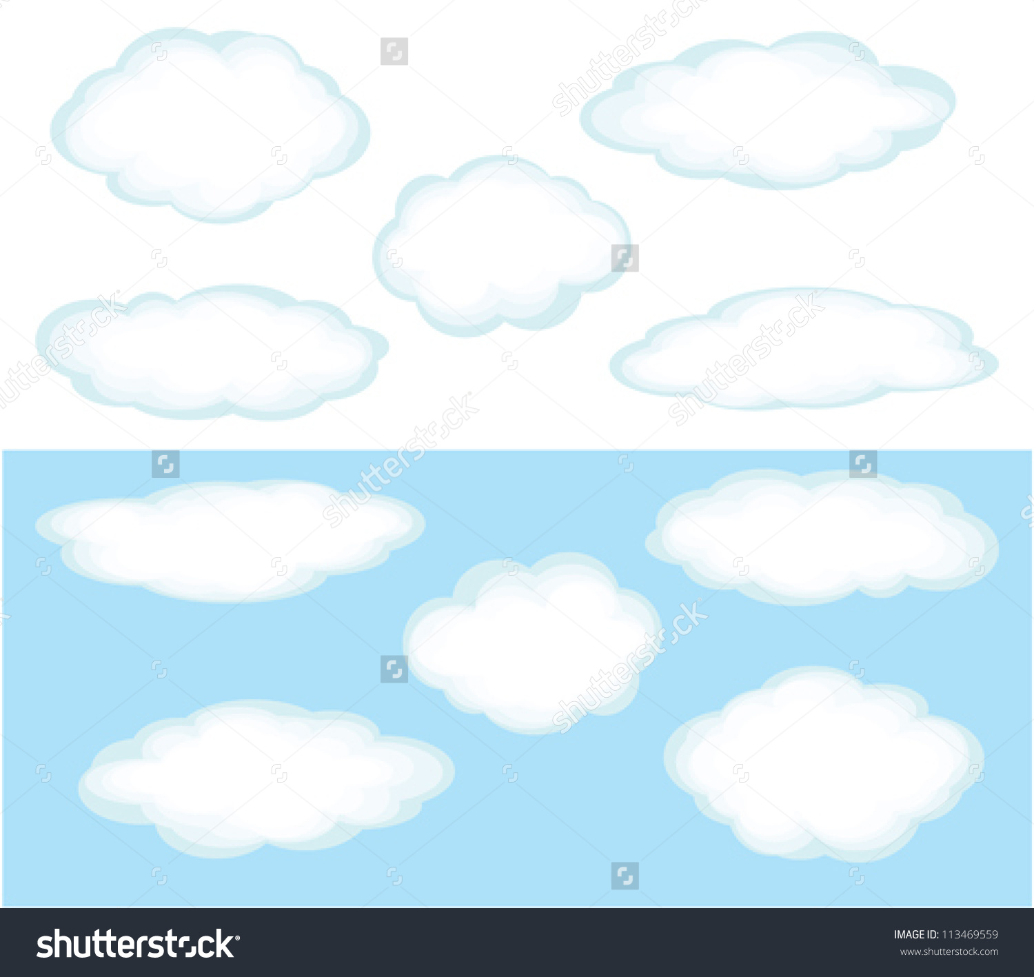 Cartoon Cumulus Clouds Different Forms On Stock Vector 113469559.