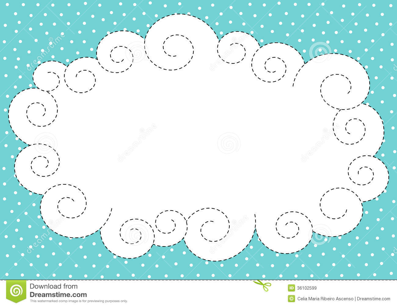Cloud And Snow Border Frame Stock Illustration.