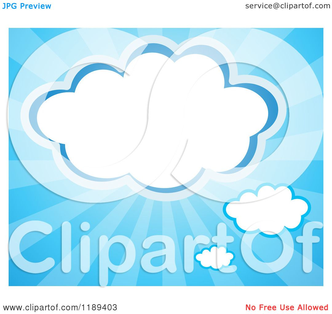 Cartoon of a Cloud Frame over Blue Rays.