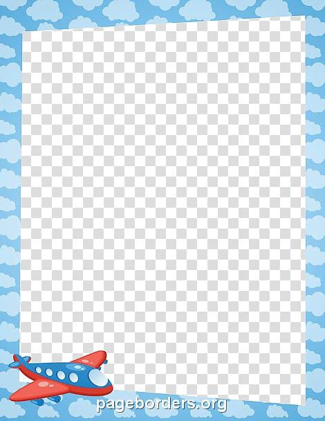 Blue cloud frame illustration, Airplane Paper , Aqua Border Frame.