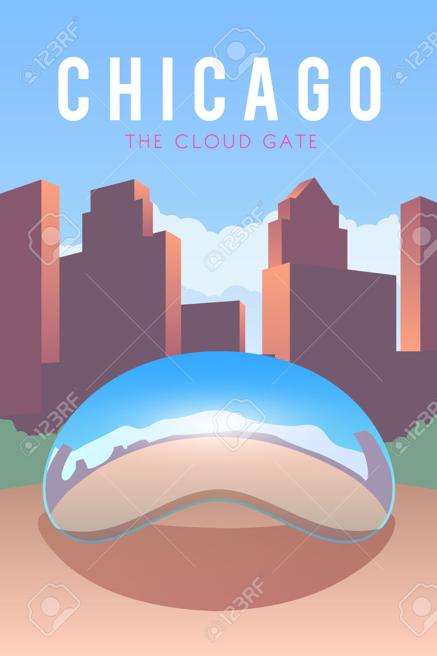 Vector Retro Poster. The Cloud Gate. Chicago. USA Flat Design.