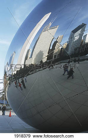 Stock Photograph of Cloud Gate ' Refelctive Globe, Sculpture, By A.