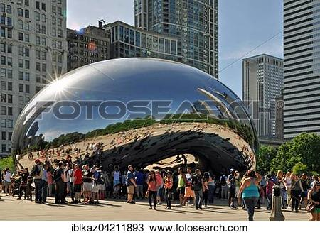 Stock Photo of Cloud Gate or The Bean, and Chicago skyline.