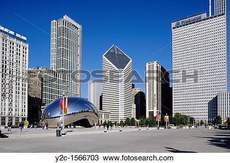 Stock Photo of Millenium Park, Cloud Gate Sculpture by Anish.