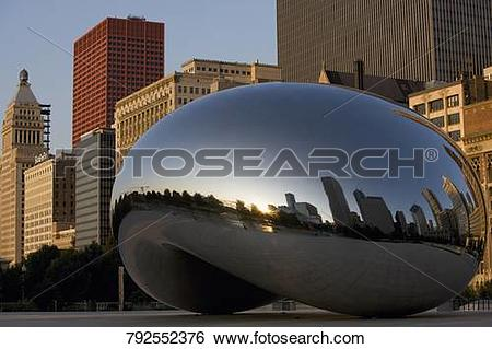 Stock Images of Bean sculpture in front of buildings, The Bean.