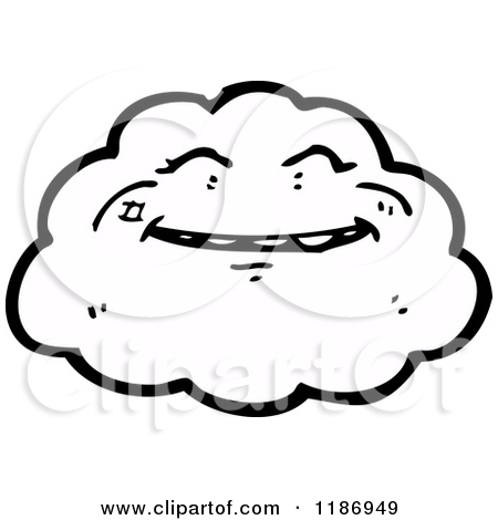 Cartoon of a Cloud with a Face.