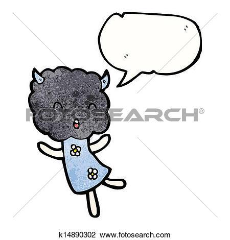 Clipart of cartoon thunder cloud head girl k14890302.