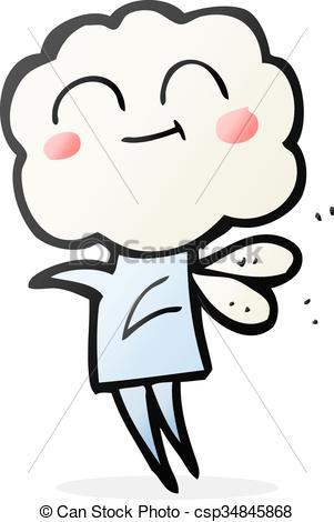 Clip Art Vector of cartoon cute cloud head imp.