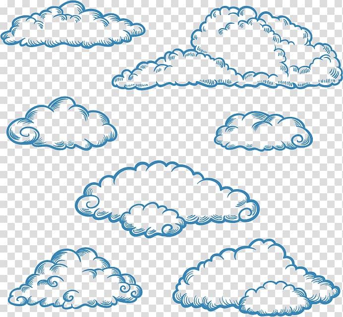 Cloud illustration, Cloud Drawing Euclidean , Hand.