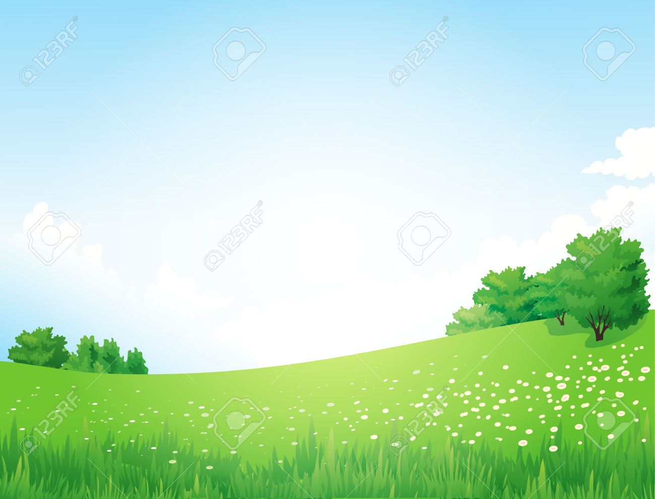 Vector Green Landscape With Trees Clouds Flowers Royalty Free.