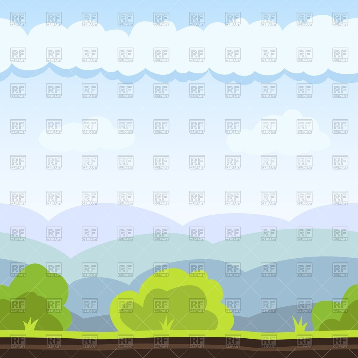 Landscape with hill, bush and cloud Vector Image #64202.