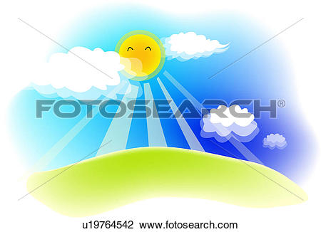 Clipart of cloud, landscape, sky, hill, field, weather, nature.