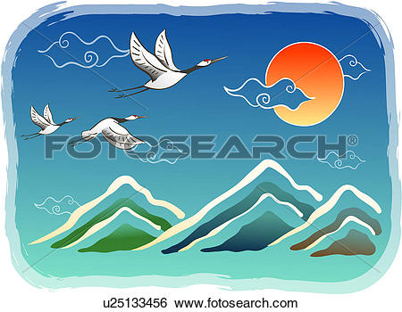 Stock Illustration of sun, scene, cloud, sky, mountain, japanese.