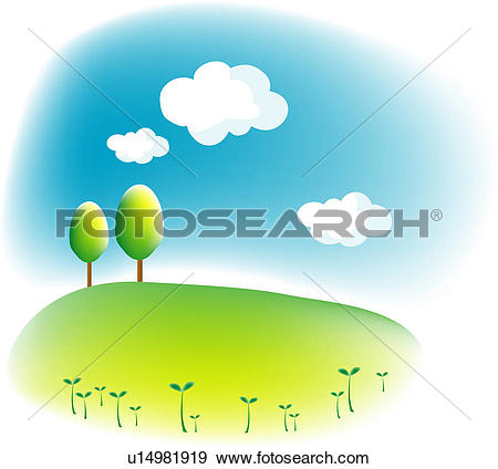 Clip Art of cloud, landscape, sky, hill, field, spring, nature.