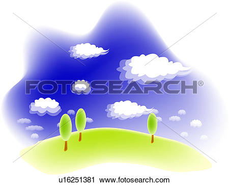 Clipart of cloud, landscape, sky, hill, field, spring, nature.