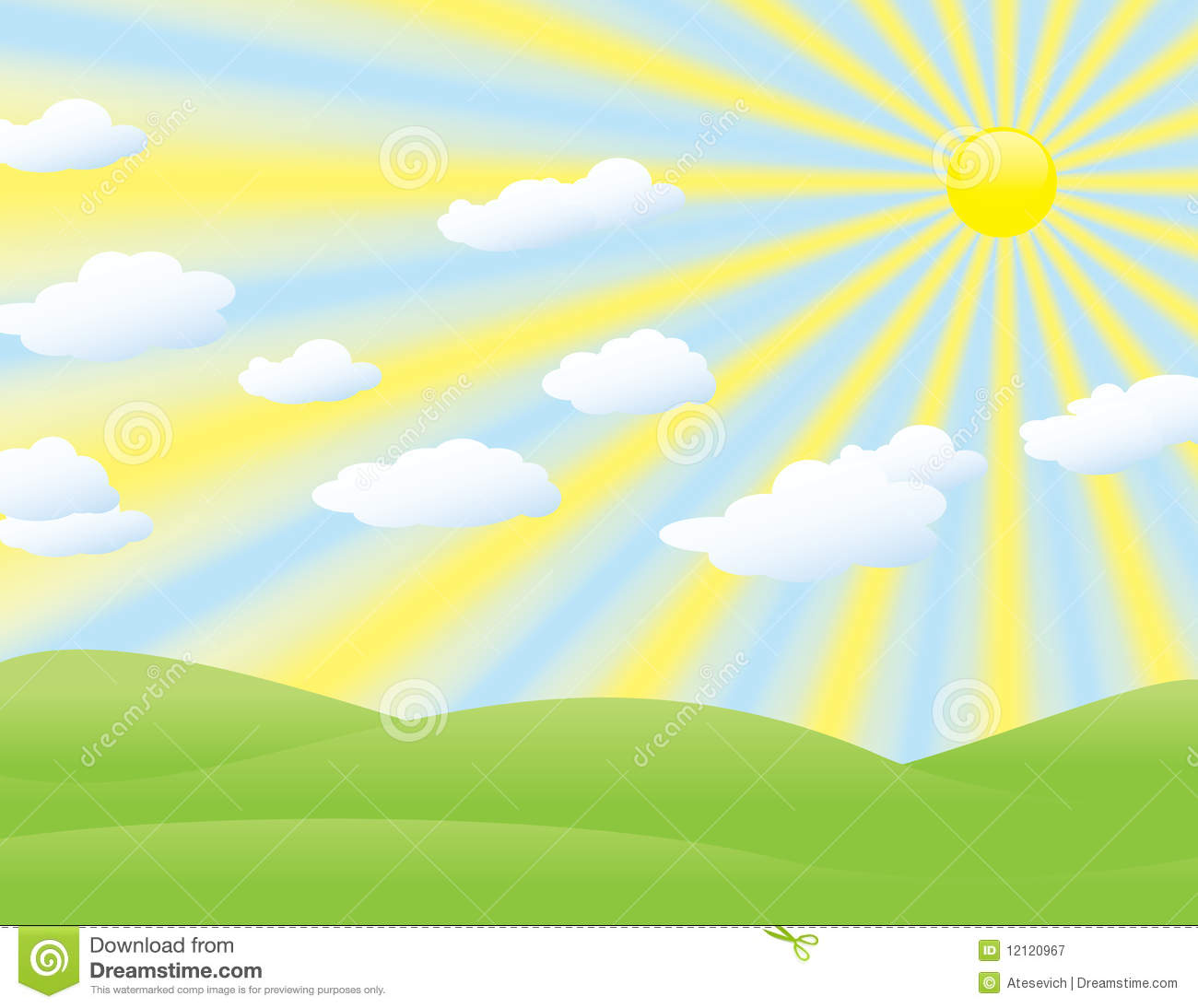 Landscape Background With Sun Rays And Clouds Royalty Free Stock.