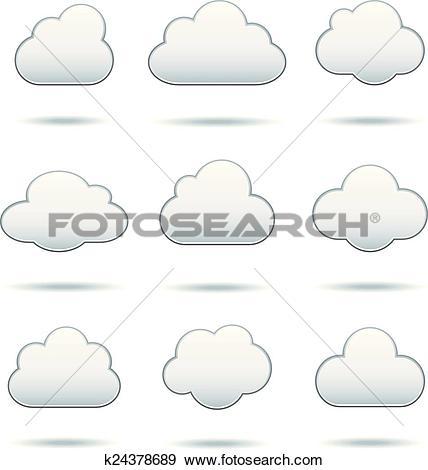 Clip Art of Cloud Icons k24378689.