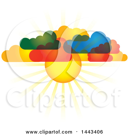 Clipart of a Background of 3d Layers of Paper Rainbow Colored.