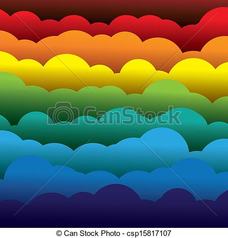 Vector Clipart of abstract colorful 3d paper clouds background.