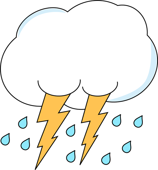 Lightning and Rain Cloud Clip Art.