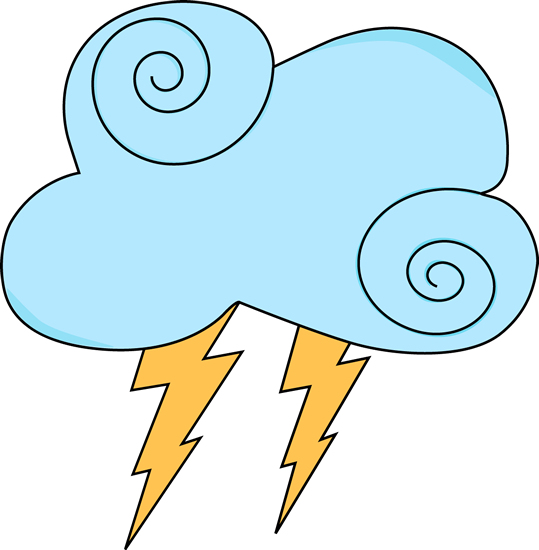 Light Blue Swirl Cloud with Lightning Clip Art.