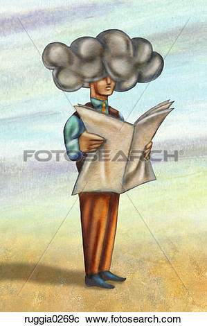 Stock Photography of people, reading, newspaper, bad news, cloud.