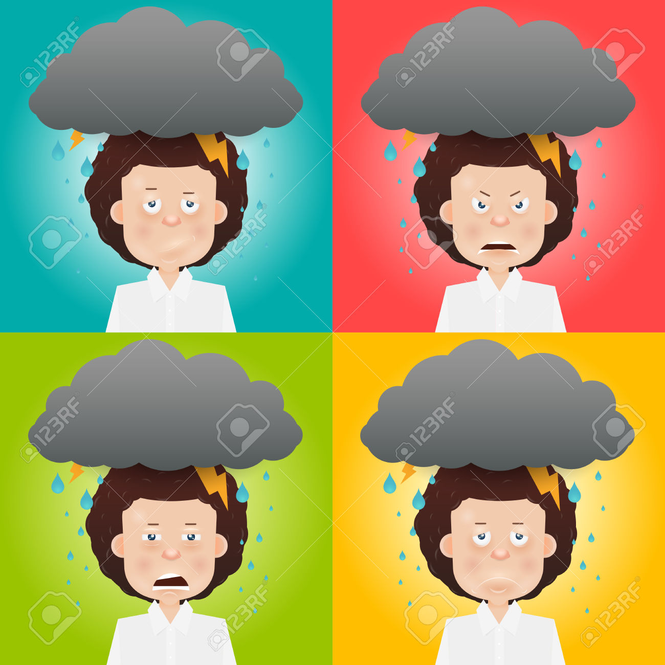 Cartoon Young Man With A Gray Cloud On The Head. Mood And.