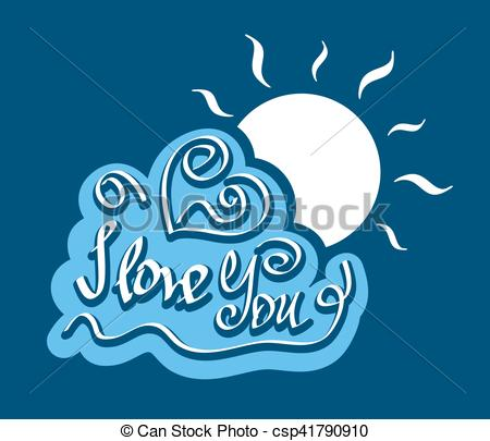 Vector Clip Art of Text I love You on cloud with bright sun.