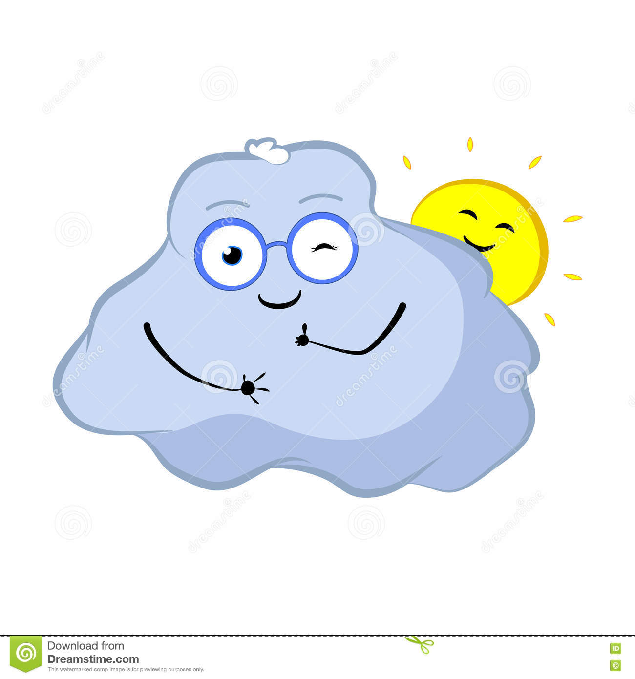 Winking Cloud Cartoon Character. Lovely Cloud And Sun Smile With.