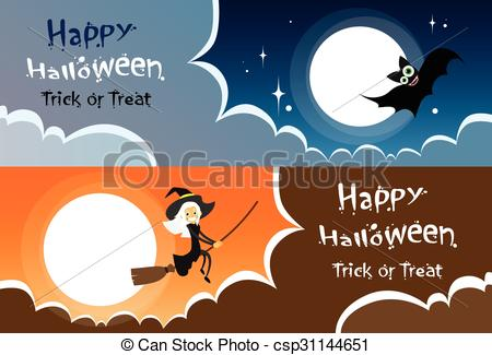 Clipart Vector of Flying Bat Vampire Halloween Banner Midnight.