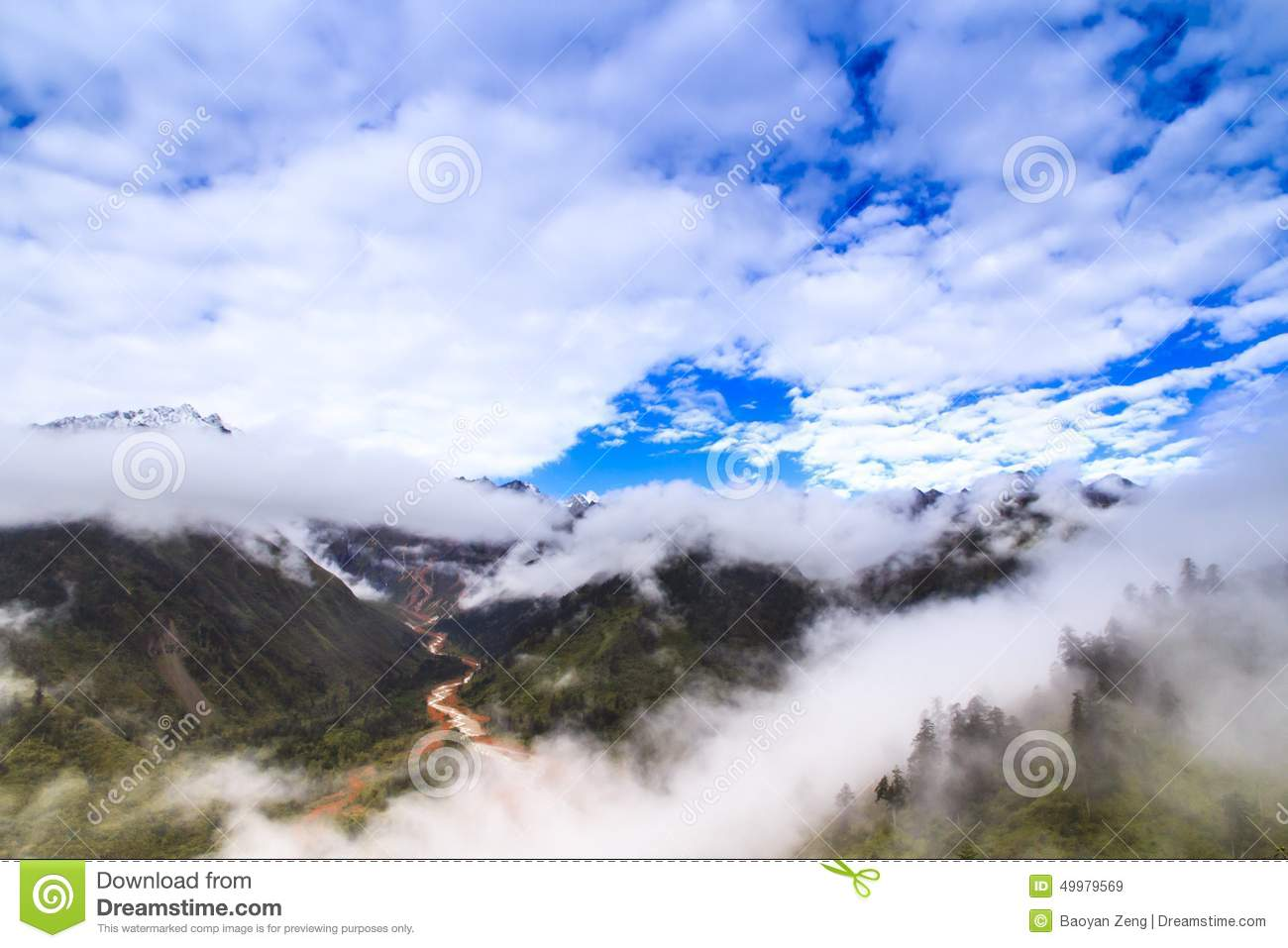 Fog And Cloud In The Mountain Stock Photo.