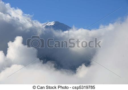 Stock Illustrations of Mountain top and cloud.