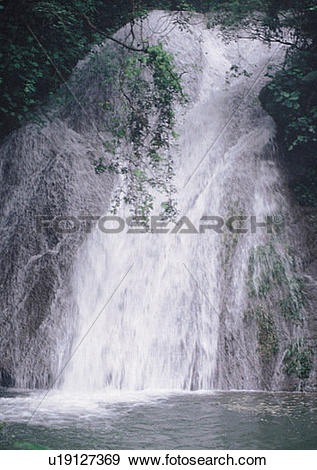 Stock Photograph of nature, sky, cloud, mountain, tree, waterfall.