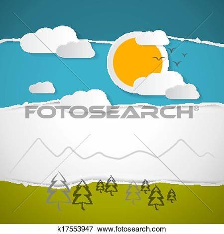 Clip Art of Abstract Vector Trees, Clouds, Mountain, Sun on Retro.